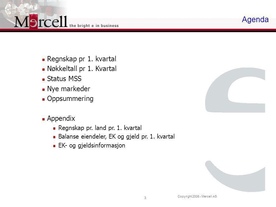 Copyright 2006 - Mercell AS 14 Balanse EK og gjeld pr 1. Kv.