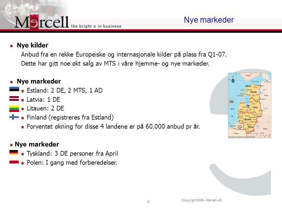 Copyright 2006 - Mercell AS 10 Oppsummering  Positiv EBITDA Norden  Prisøkning og anbud fra flere land gir økt salg  Etablering i nye markeder går som planlagt