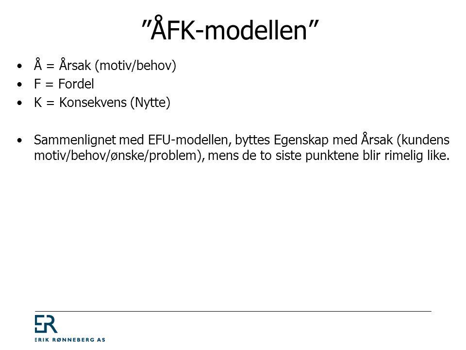 ÅFK-modellen •Å = Årsak (motiv/behov) •F = Fordel •K = Konsekvens (Nytte) •Sammenlignet med EFU-modellen, byttes Egenskap med Årsak (kundens motiv/behov/ønske/problem), mens de to siste punktene blir rimelig like.
