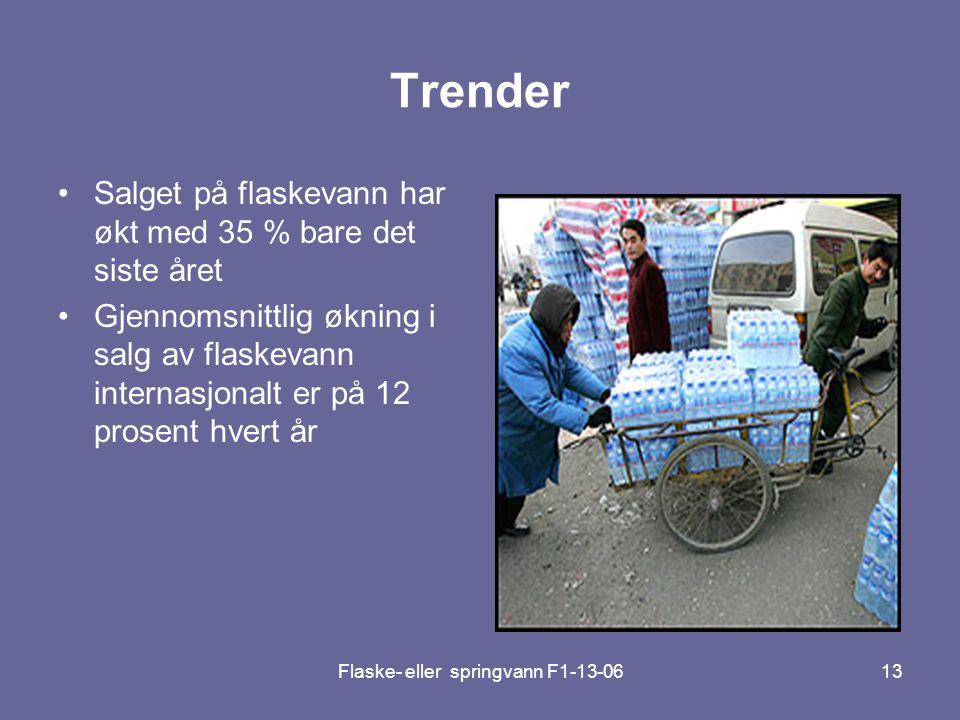 Flaske- eller springvann F1-13-0613 Trender •Salget på flaskevann har økt med 35 % bare det siste året •Gjennomsnittlig økning i salg av flaskevann in