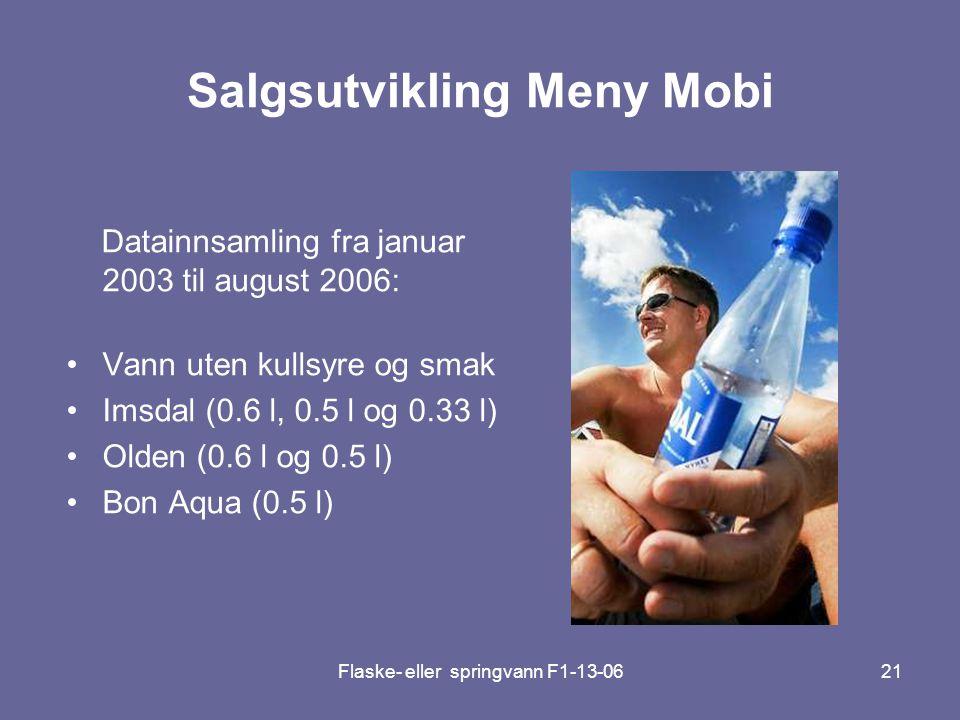 Flaske- eller springvann F1-13-0621 Salgsutvikling Meny Mobi Datainnsamling fra januar 2003 til august 2006: •Vann uten kullsyre og smak •Imsdal (0.6