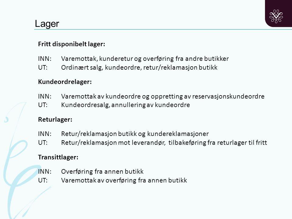 Lager Fritt disponibelt lager: INN: Varemottak, kunderetur og overføring fra andre butikker UT: Ordinært salg, kundeordre, retur/reklamasjon butikk Ku