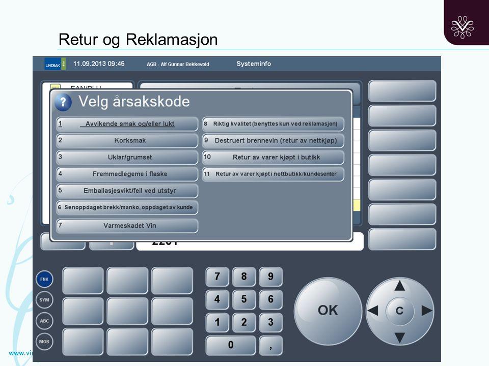 Retur og reklamasjoner i kassen www.vinmonopolet.no Retur og Reklamasjon