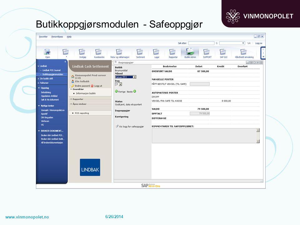6/26/2014 Butikkoppgjørsmodulen - Safeoppgjør