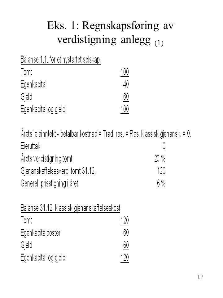 17 Eks. 1: Regnskapsføring av verdistigning anlegg (1)