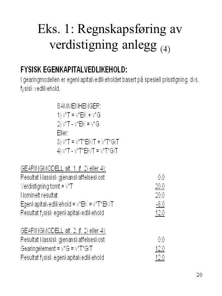 20 Eks. 1: Regnskapsføring av verdistigning anlegg (4)