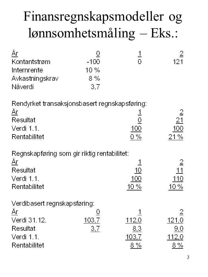 3 Finansregnskapsmodeller og lønnsomhetsmåling – Eks.: