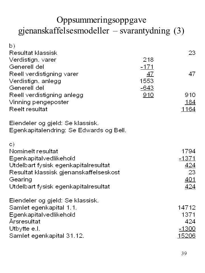 39 Oppsummeringsoppgave gjenanskaffelsesmodeller – svarantydning (3)
