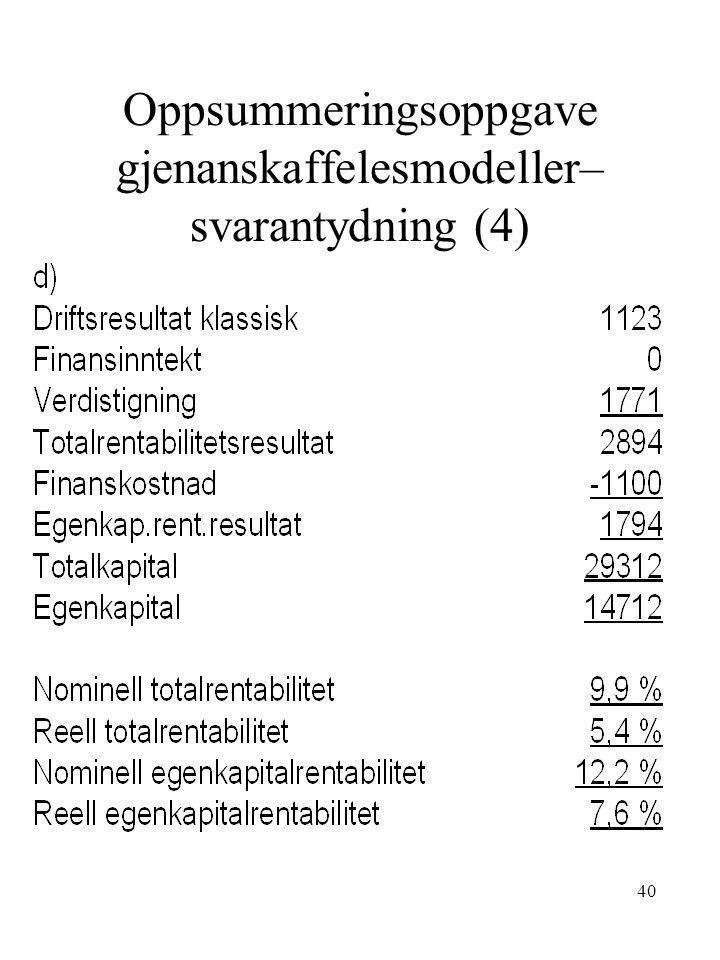 40 Oppsummeringsoppgave gjenanskaffelesmodeller– svarantydning (4)