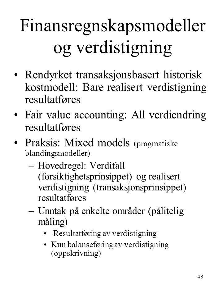 43 Finansregnskapsmodeller og verdistigning •Rendyrket transaksjonsbasert historisk kostmodell: Bare realisert verdistigning resultatføres •Fair value