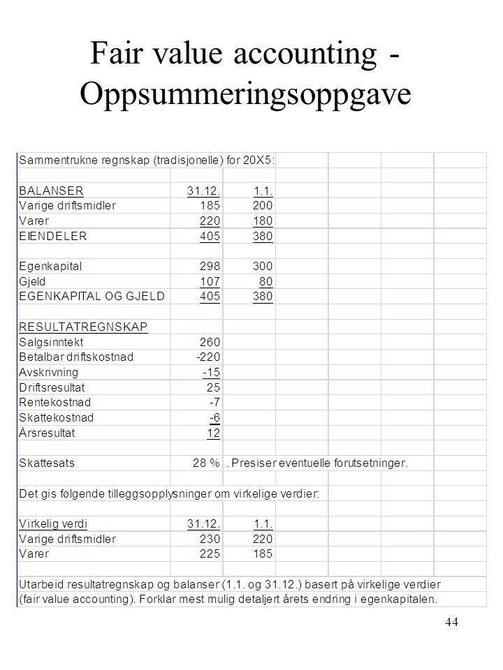 Fair value accounting - Oppsummeringsoppgave 44
