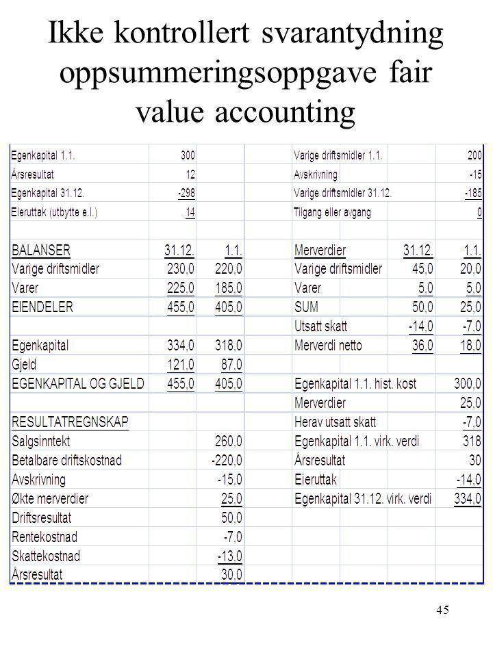 Ikke kontrollert svarantydning oppsummeringsoppgave fair value accounting 45