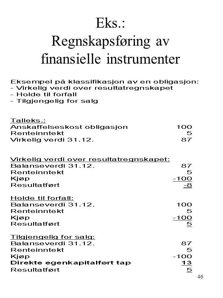 Eks.: Regnskapsføring av finansielle instrumenter 46