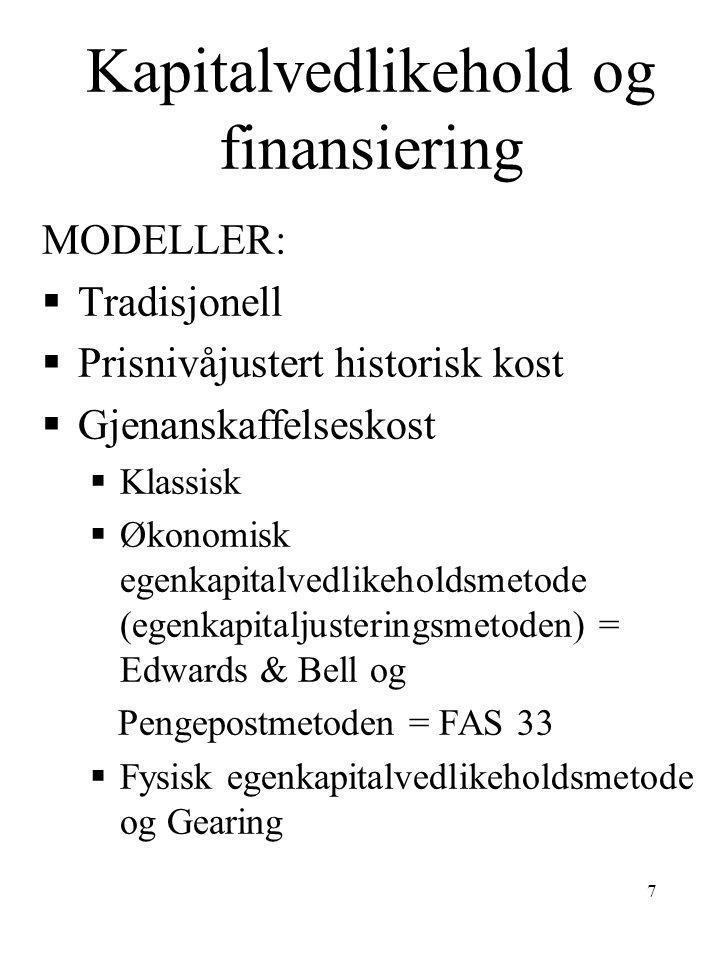 7 Kapitalvedlikehold og finansiering MODELLER:  Tradisjonell  Prisnivåjustert historisk kost  Gjenanskaffelseskost  Klassisk  Økonomisk egenkapit