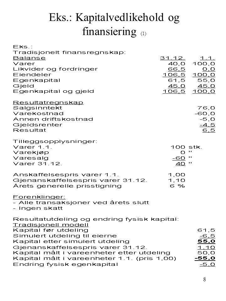 8 Eks.: Kapitalvedlikehold og finansiering (1)