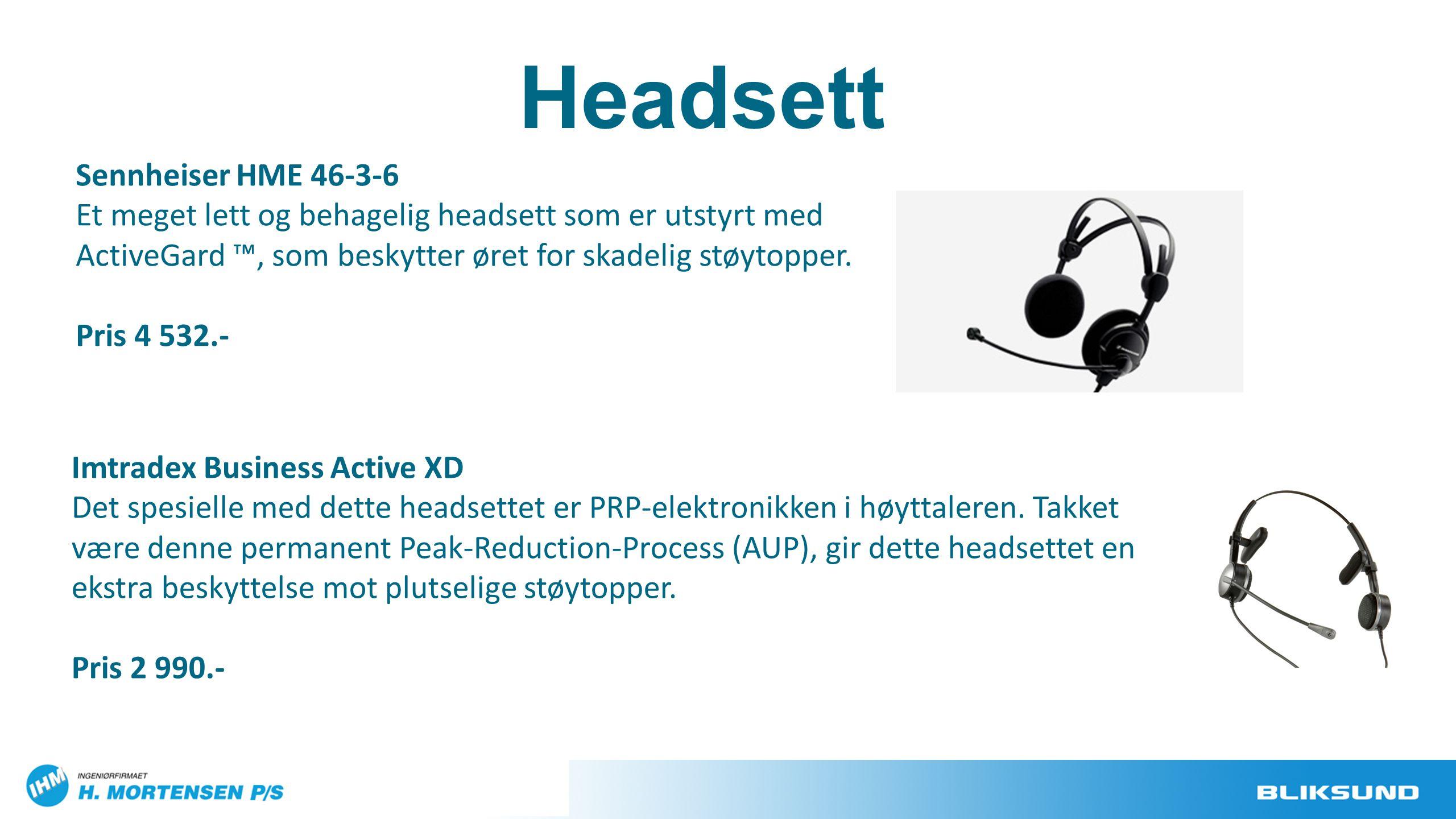 Headsett Imtradex Business Active XD Det spesielle med dette headsettet er PRP-elektronikken i høyttaleren. Takket være denne permanent Peak-Reduction
