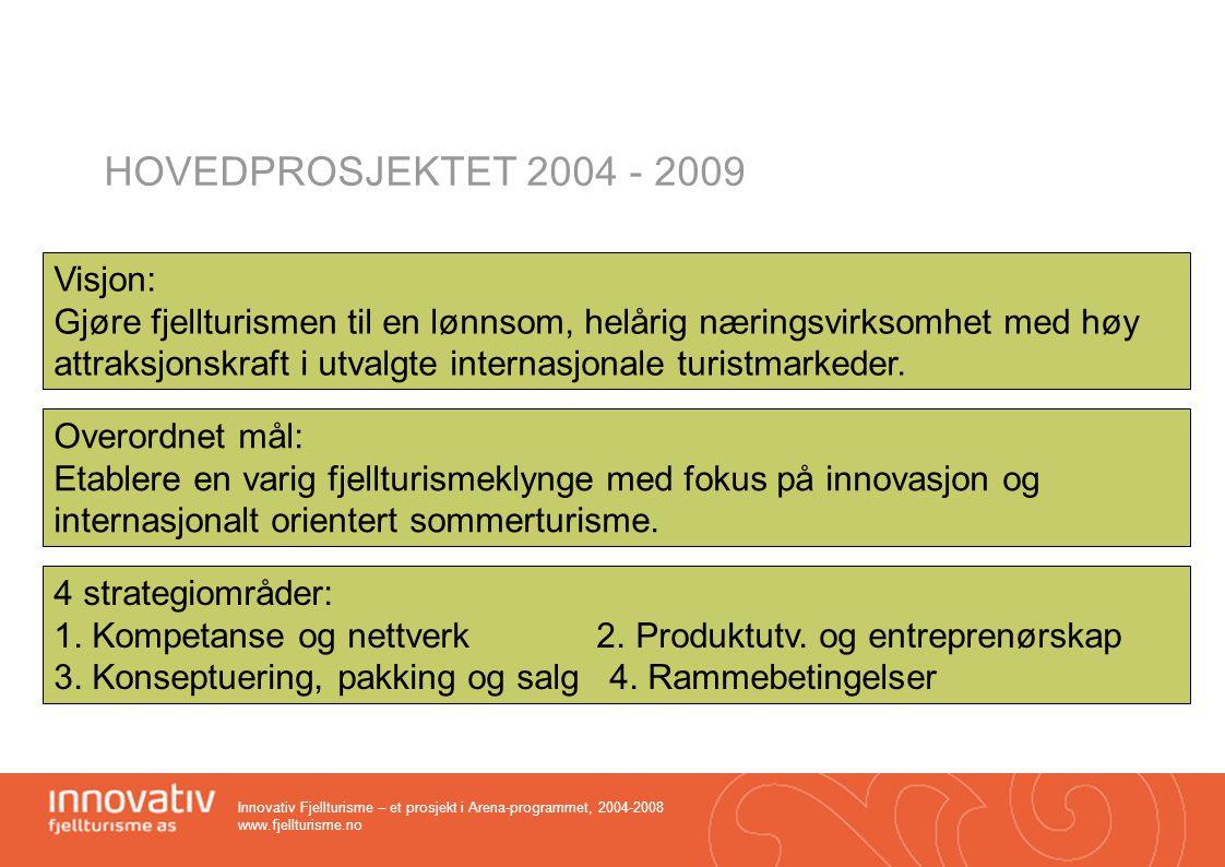 Innovativ Fjellturisme – et prosjekt i Arena-programmet, 2004-2008 www.fjellturisme.no HOVEDPROSJEKTET 2004 - 2009 Visjon: Gjøre fjellturismen til en
