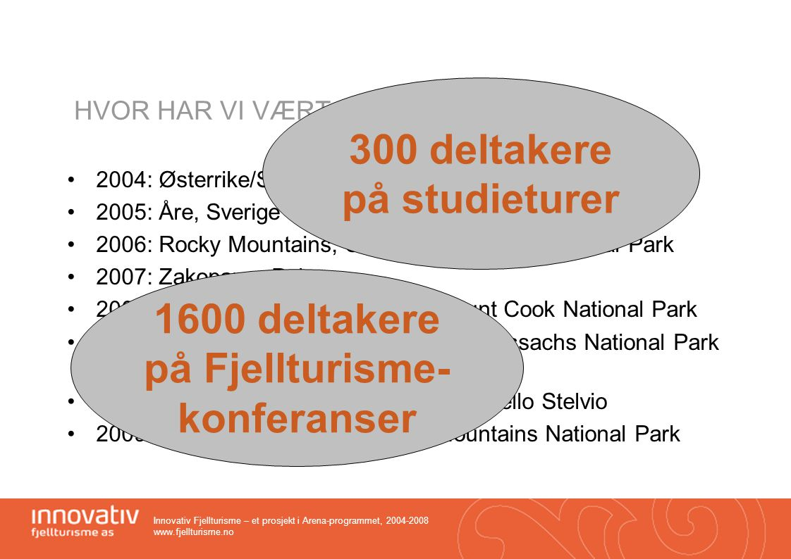 Innovativ Fjellturisme – et prosjekt i Arena-programmet, 2004-2008 www.fjellturisme.no HVOR HAR VI VÆRT PÅ 5 ÅR? •2004: Østerrike/Sveits, med Swiss Na
