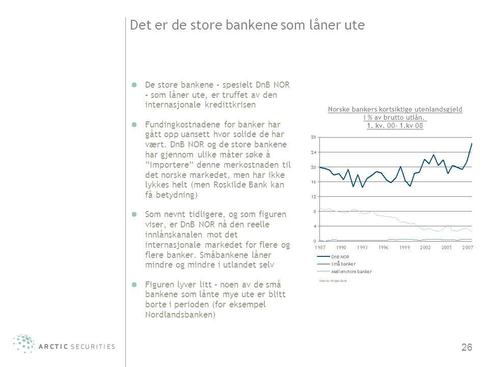 26 Det er de store bankene som låner ute De store bankene – spesielt DnB NOR – som låner ute, er truffet av den internasjonale kredittkrisen Fundingko
