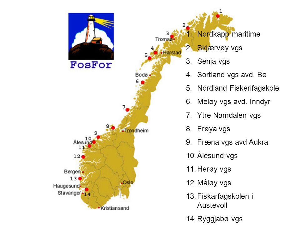 1.Nordkapp maritime 2.Skjærvøy vgs 3.Senja vgs 4.Sortland vgs avd. Bø 5.Nordland Fiskerifagskole 6.Meløy vgs avd. Inndyr 7.Ytre Namdalen vgs 8.Frøya v