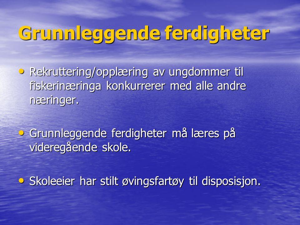 Grunnleggende ferdigheter • Rekruttering/opplæring av ungdommer til fiskerinæringa konkurrerer med alle andre næringer. • Grunnleggende ferdigheter må