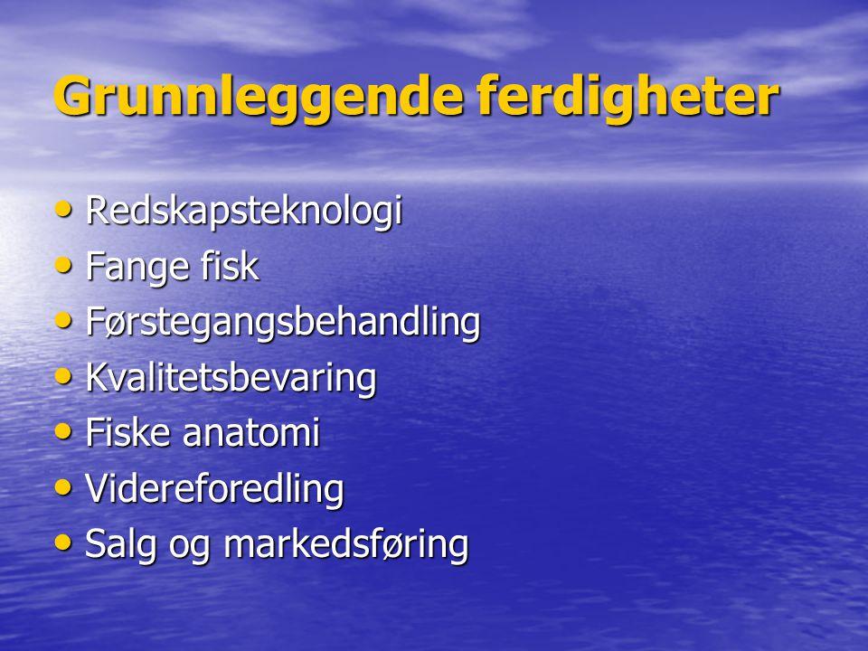 Grunnleggende ferdigheter • Redskapsteknologi • Fange fisk • Førstegangsbehandling • Kvalitetsbevaring • Fiske anatomi • Videreforedling • Salg og mar