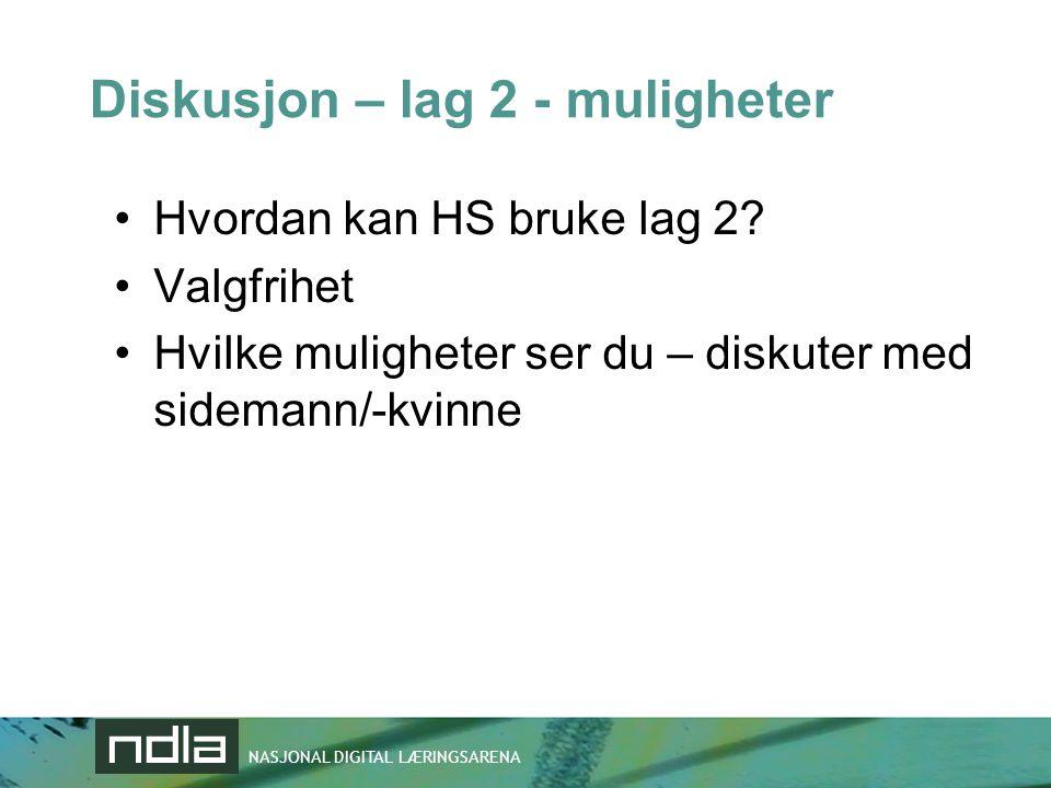 NASJONAL DIGITAL LÆRINGSARENA Diskusjon – lag 2 - muligheter •Hvordan kan HS bruke lag 2.