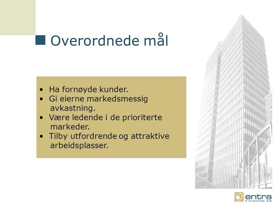Overordnede mål • Ha fornøyde kunder. • Gi eierne markedsmessig avkastning.