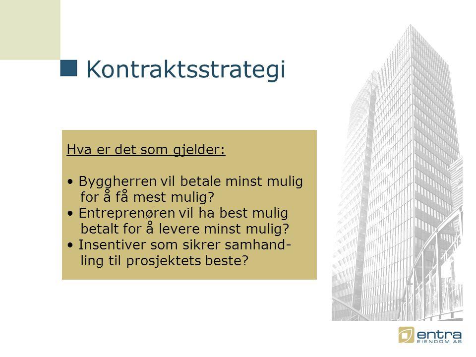 Kontraktsstrategi Hva er det som gjelder: • Byggherren vil betale minst mulig for å få mest mulig.