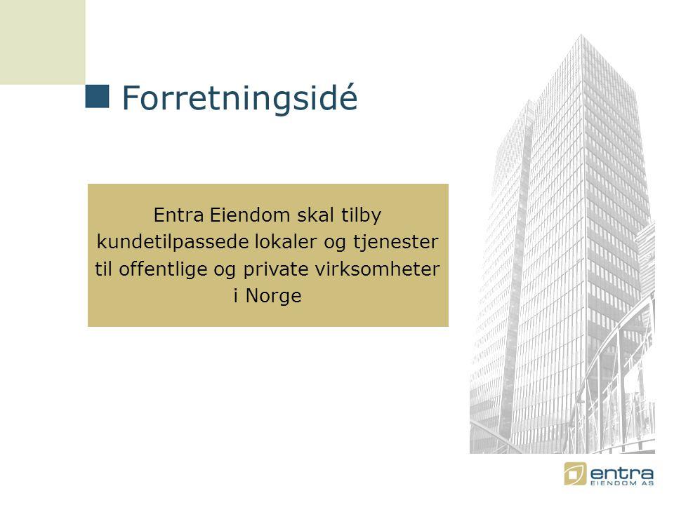 Forretningsidé Entra Eiendom skal tilby kundetilpassede lokaler og tjenester til offentlige og private virksomheter i Norge