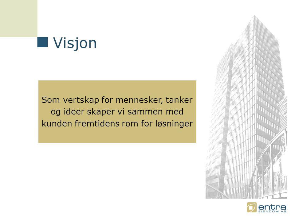 Som vertskap for mennesker, tanker og ideer skaper vi sammen med kunden fremtidens rom for løsninger Visjon