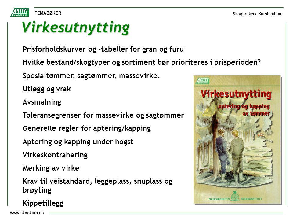 www.skogkurs.no TEMABØKER Skogbrukets Kursinstitutt Virkesutnytting Prisforholdskurver og -tabeller for gran og furu Hvilke bestand/skogtyper og sorti