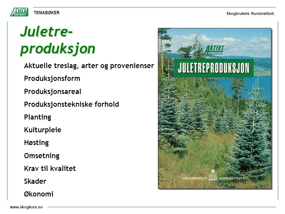 www.skogkurs.no TEMABØKER Skogbrukets Kursinstitutt Juletre- produksjon Aktuelle treslag, arter og provenienser Produksjonsform Produksjonsareal Produ