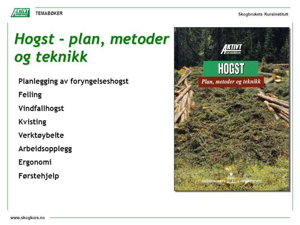 www.skogkurs.no TEMABØKER Skogbrukets Kursinstitutt Hogst - plan, metoder og teknikk Planlegging av foryngelseshogst Felling Vindfallhogst Kvisting Ve