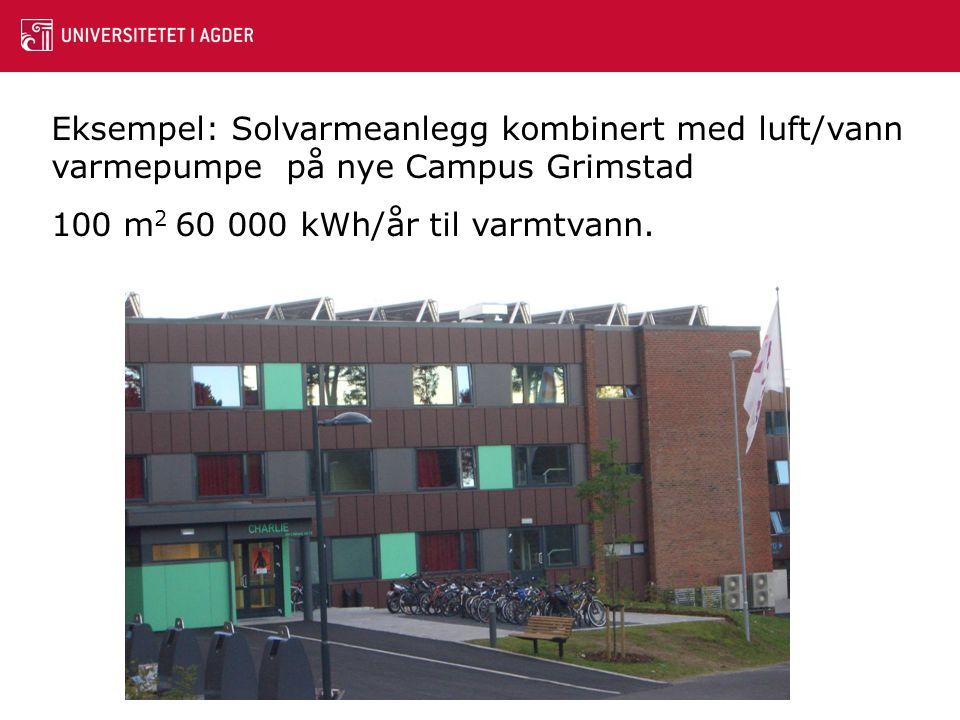 Eksempel: Solvarmeanlegg kombinert med luft/vann varmepumpe på nye Campus Grimstad 100 m 2 60 000 kWh/år til varmtvann.