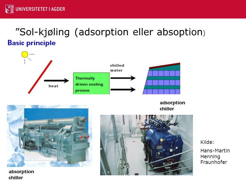 """""""Sol-kjøling (adsorption eller absoption ) Kilde: Hans-Martin Henning Fraunhofer"""