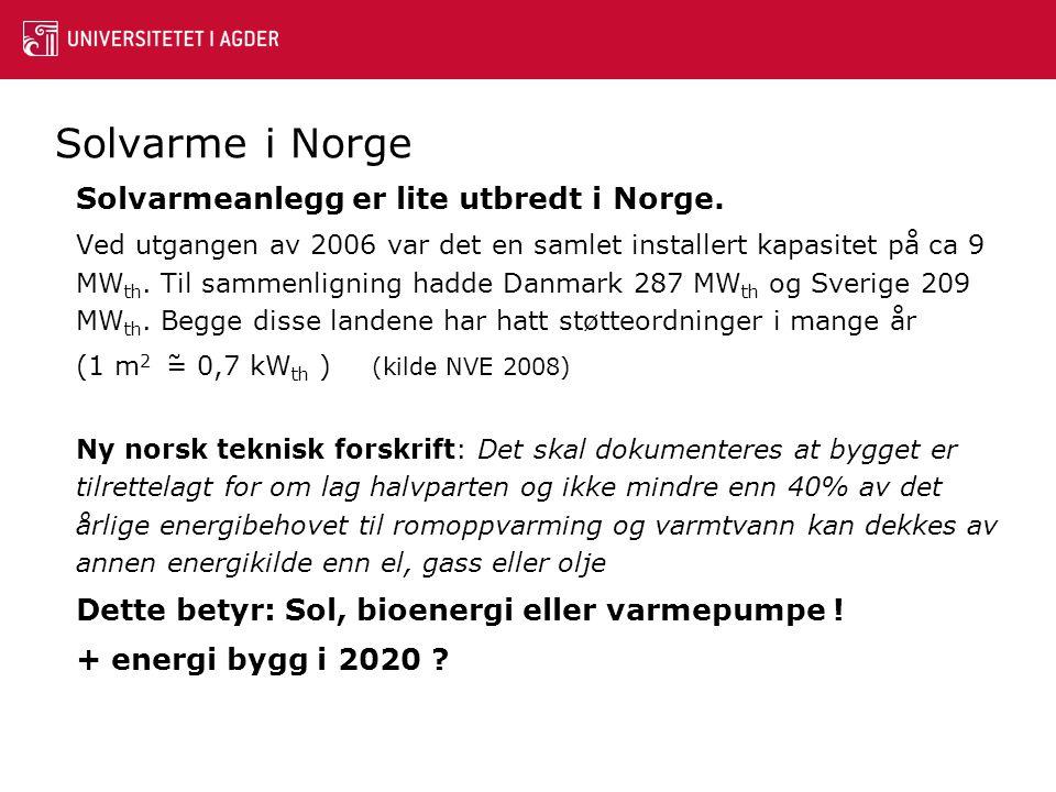 Solvarme i Norge Solvarmeanlegg er lite utbredt i Norge. Ved utgangen av 2006 var det en samlet installert kapasitet på ca 9 MW th. Til sammenligning