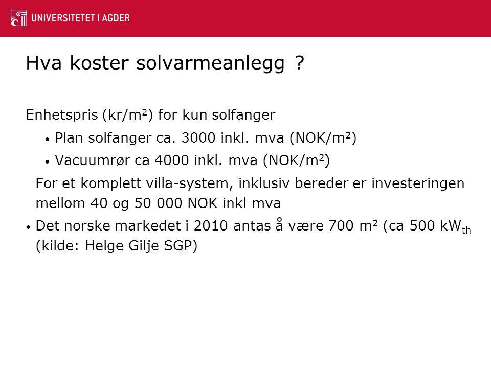 Hva koster solvarmeanlegg ? Enhetspris (kr/m 2 ) for kun solfanger • Plan solfanger ca. 3000 inkl. mva (NOK/m 2 ) • Vacuumrør ca 4000 inkl. mva (NOK/m