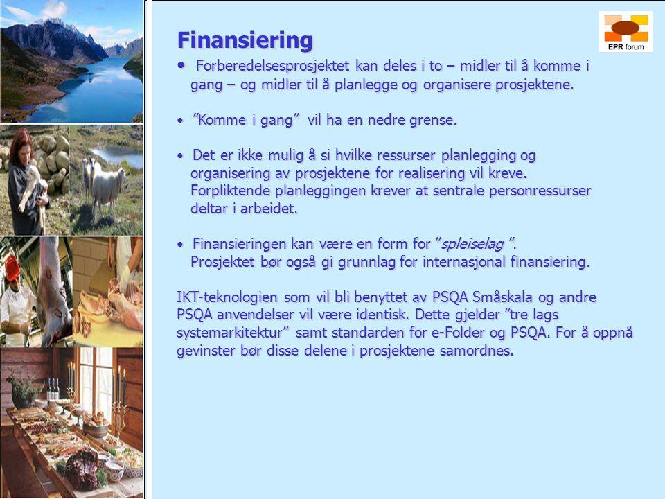 Finansiering • Forberedelsesprosjektet kan deles i to – midler til å komme i gang – og midler til å planlegge og organisere prosjektene. gang – og mid