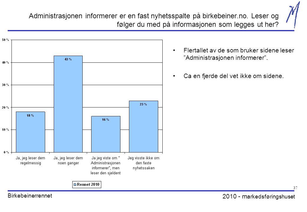 2010 - m arkedsføringshuset Birkebeinerrennet 37 Administrasjonen informerer er en fast nyhetsspalte på birkebeiner.no.