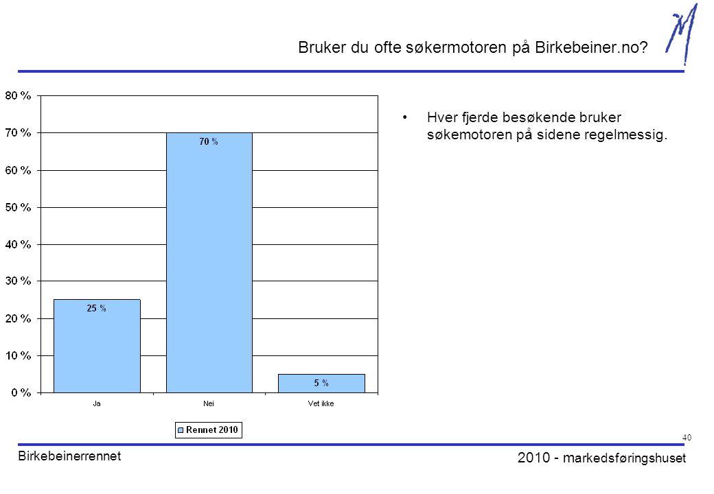 2010 - m arkedsføringshuset Birkebeinerrennet 40 Bruker du ofte søkermotoren på Birkebeiner.no.