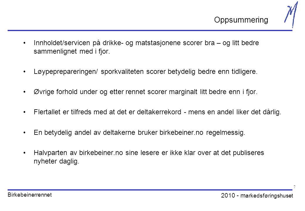 2010 - m arkedsføringshuset Birkebeinerrennet 7 •Innholdet/servicen på drikke- og matstasjonene scorer bra – og litt bedre sammenlignet med i fjor.