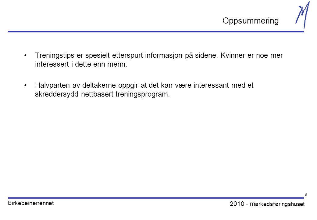 2010 - m arkedsføringshuset Birkebeinerrennet 8 •Treningstips er spesielt etterspurt informasjon på sidene.