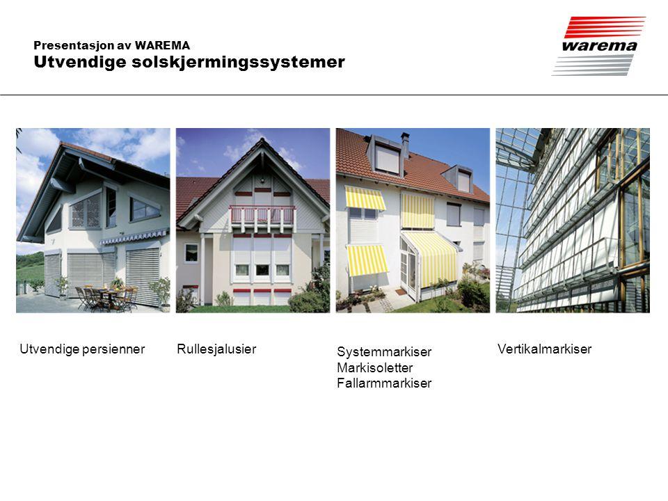 Presentasjon av WAREMA Utvendige solskjermingssystemer Utvendige persiennerRullesjalusier Systemmarkiser Markisoletter Fallarmmarkiser Vertikalmarkise