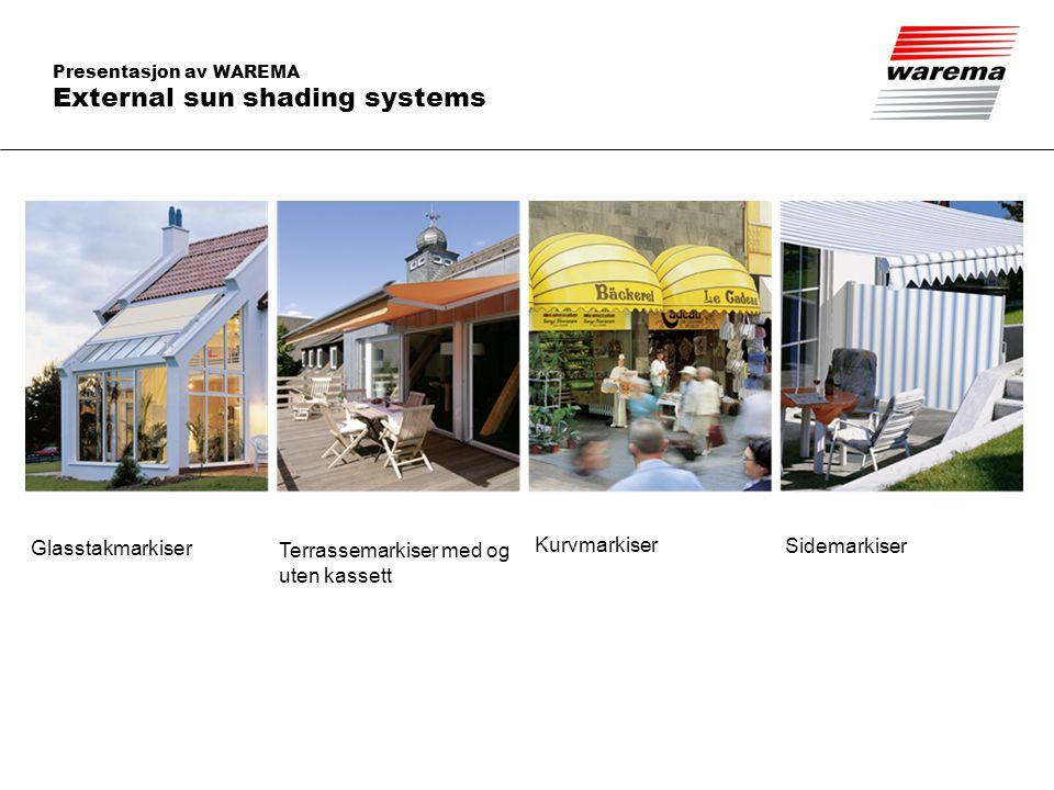 Presentasjon av WAREMA Innvendige solskjermingssystemer Innvendige persienner Rullegardiner Lamellgardiner Plisségardiner