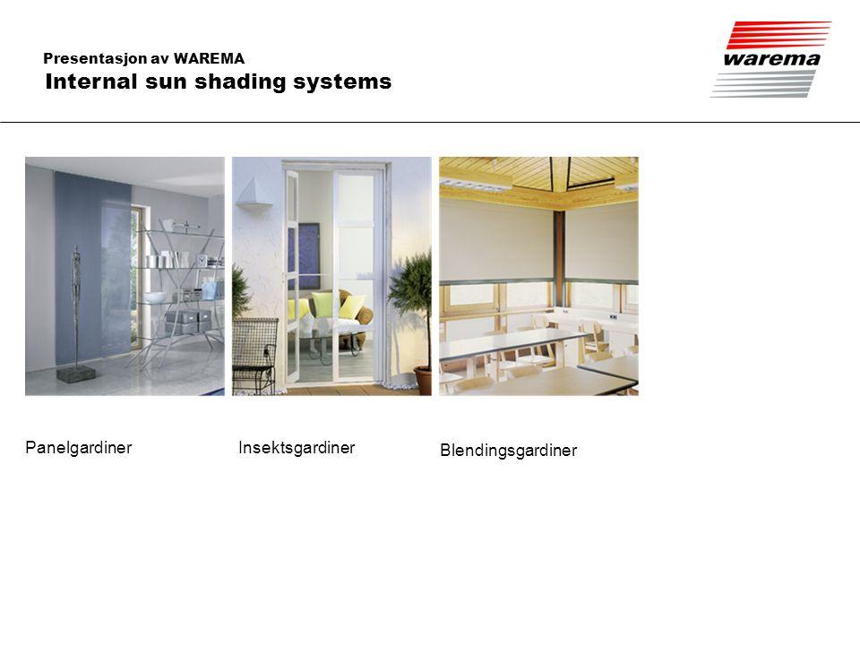 Presentasjon av WAREMA Internal sun shading systems Panelgardiner Insektsgardiner Blendingsgardiner