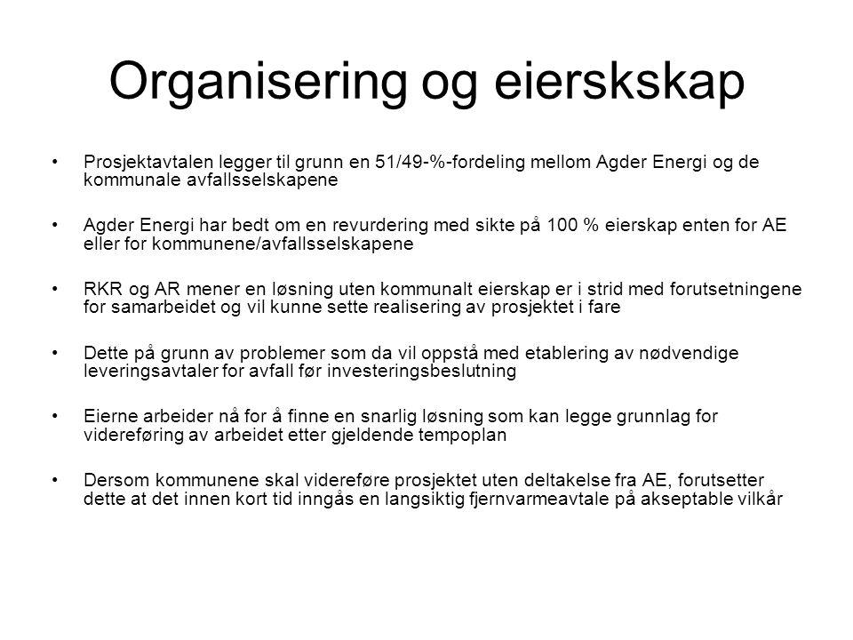 Organisering og eierskskap •Prosjektavtalen legger til grunn en 51/49-%-fordeling mellom Agder Energi og de kommunale avfallsselskapene •Agder Energi