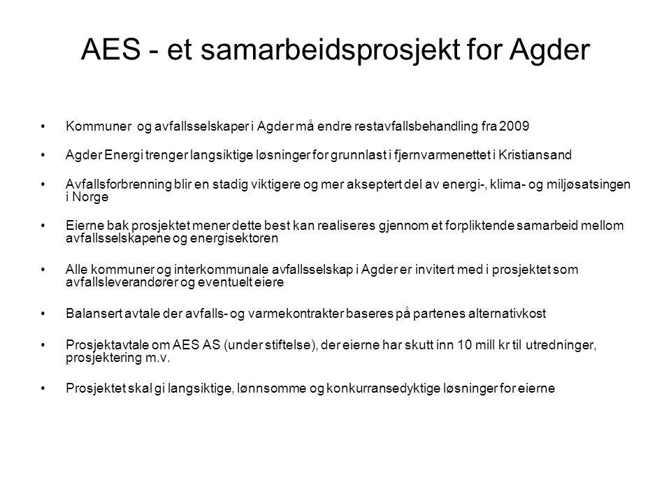 AES - et samarbeidsprosjekt for Agder •Kommuner og avfallsselskaper i Agder må endre restavfallsbehandling fra 2009 •Agder Energi trenger langsiktige