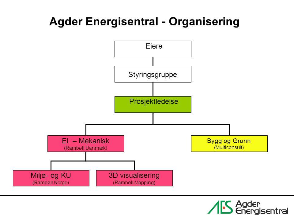 Agder Energisentral - Organisering El. – Mekanisk (Rambøll Danmark) Miljø- og KU (Rambøll Norge) Prosjektledelse Bygg og Grunn (Multiconsult) 3D visua