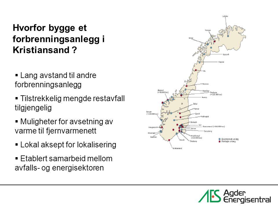 Hvorfor bygge et forbrenningsanlegg i Kristiansand ?  Lang avstand til andre forbrenningsanlegg  Tilstrekkelig mengde restavfall tilgjengelig  Muli